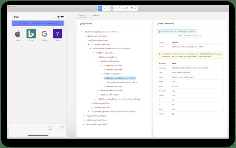 Safari in Appium Desktop