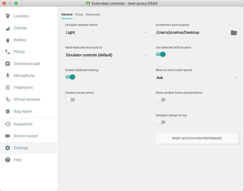 Android emulator extended settings pane