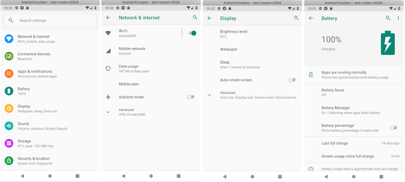 Each of these screens from the Settings app are separate activities.
